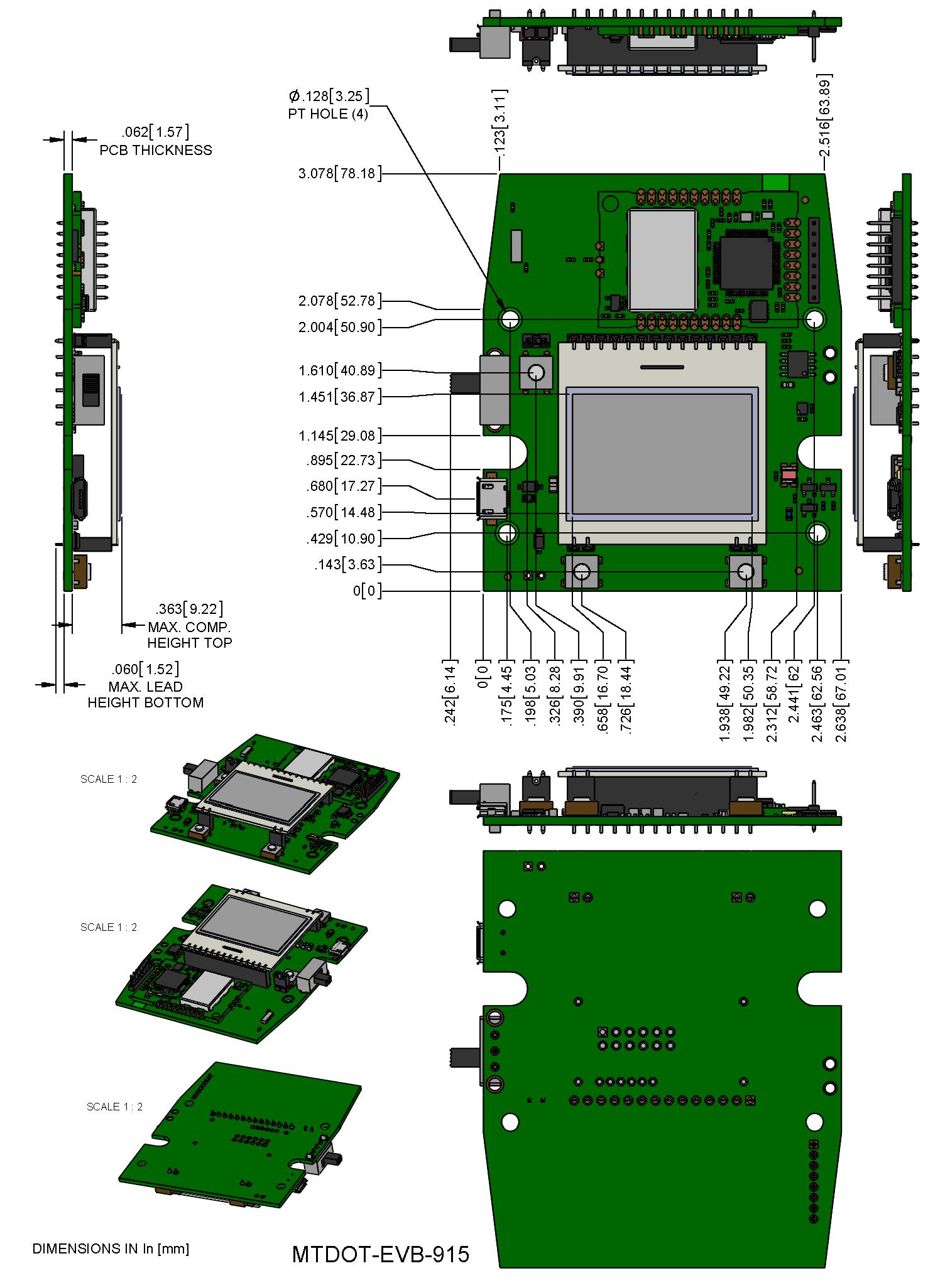 MTDOT-EVB Board Dimensions